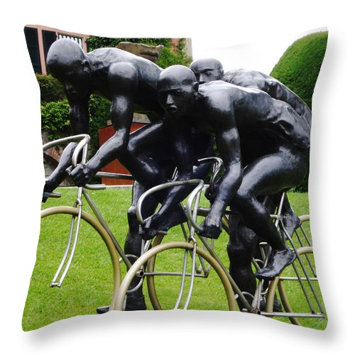Cyclist Throw Pillow featuring the photograph Cycle by Jeff Barrett