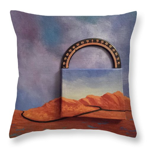 Clouds Mountains Meridian Throw Pillow featuring the painting Cyclic Existence by Beth Waltz