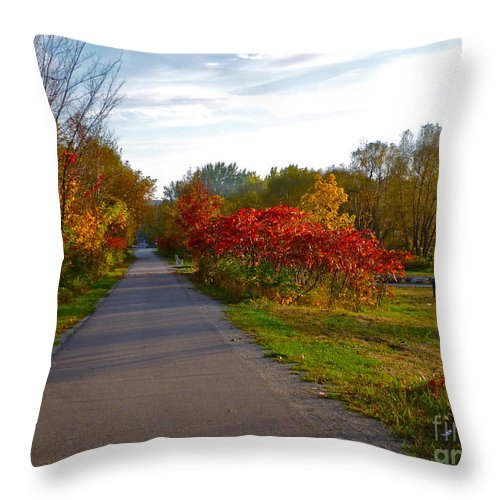 Fall Throw Pillow featuring the photograph Cycling In Heaven by Claire Bull
