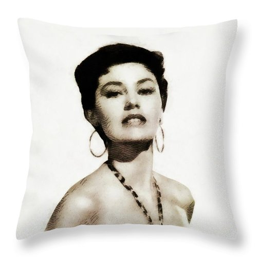 Cyd Throw Pillow featuring the painting Cyd Charisse, Actress And Dancer by John Springfield
