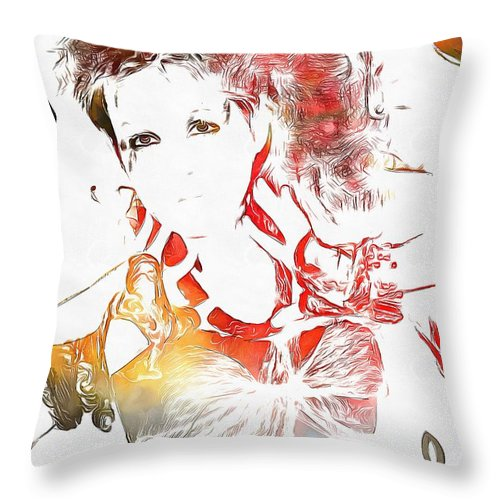 Cyndi Lauper Watercolor Throw Pillow featuring the painting Cyndi Lauper Watercolor by Dan Sproul