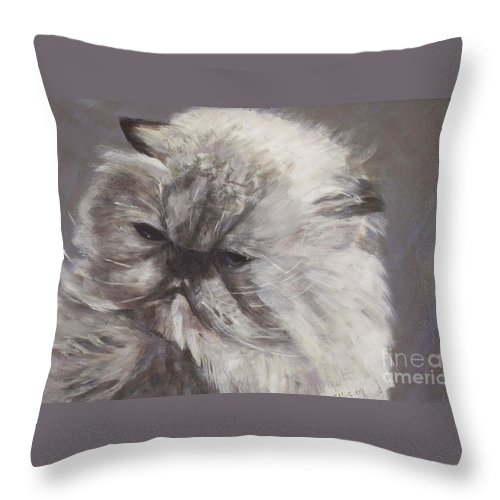 Himalayan Cat Throw Pillow featuring the painting Cynthia by Elizabeth Ellis