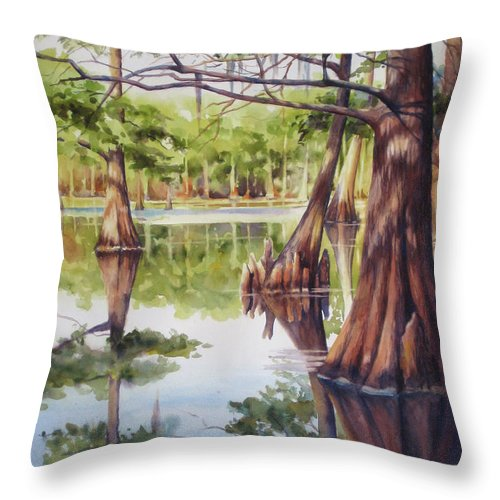 Cypress Tree Throw Pillow featuring the painting Cypress In Lake Chicot by Sue Zimmermann