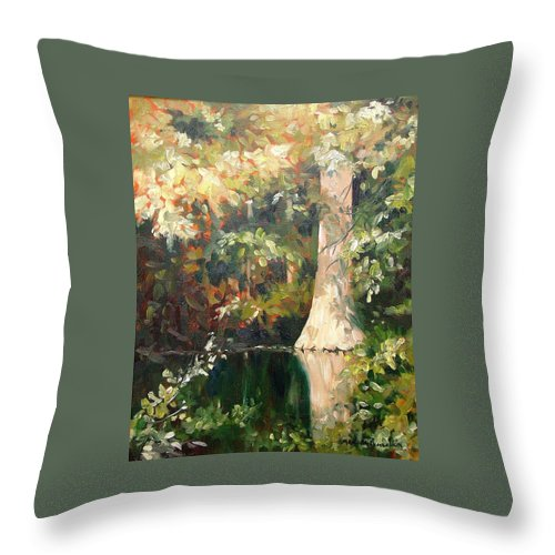 Landscape Throw Pillow featuring the painting Cypress in Sun by Marlene Gremillion