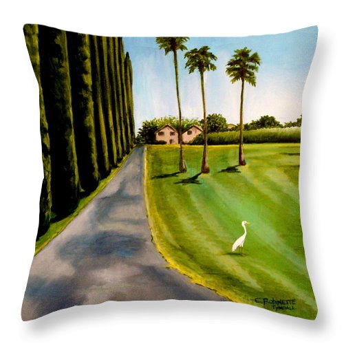 Landscape Throw Pillow featuring the painting Cypress Palms by Elizabeth Robinette Tyndall