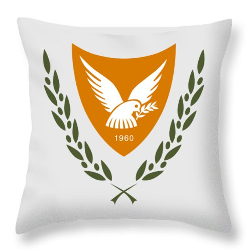 Cyprus Throw Pillow featuring the drawing Cyprus Coat Of Arms by Movie Poster Prints