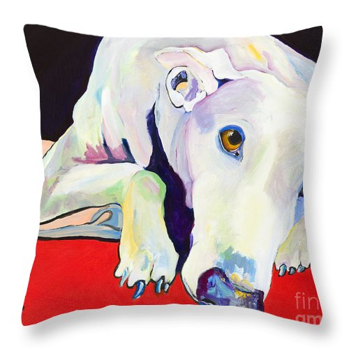 Animals Pets Greyhound Throw Pillow featuring the painting Cyrus by Pat Saunders-White