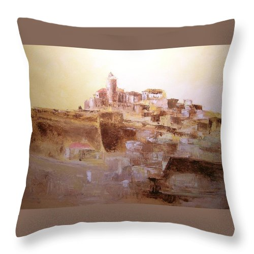 Original Cityscpae Throw Pillow featuring the painting D Alt Vila Ibiza Old Town by Lizzy Forrester