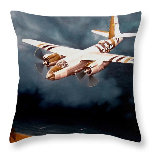 Military Throw Pillow featuring the painting D-Day Support by Marc Stewart
