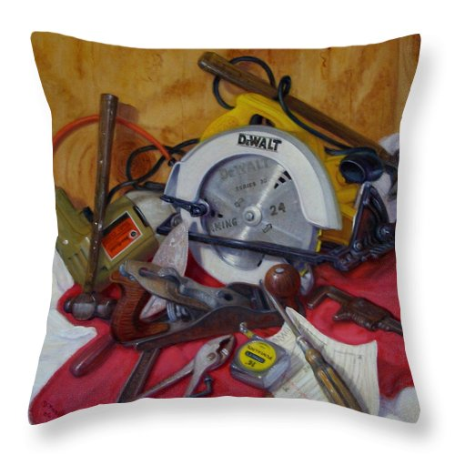 Realism Throw Pillow featuring the painting D. I. Y. 2  by Donelli DiMaria