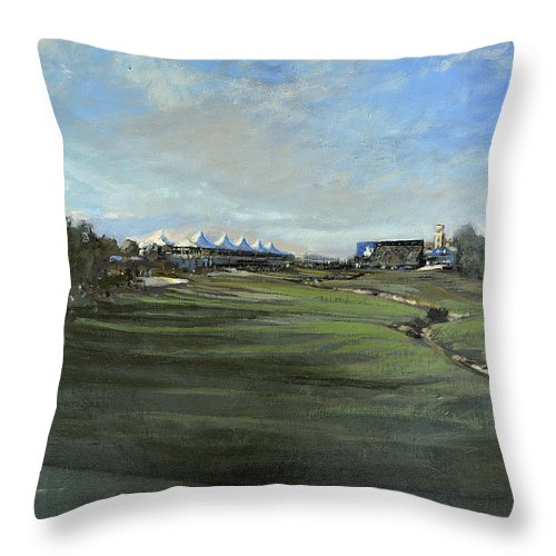 D P World Tour Championship Throw Pillow featuring the painting D P World Tour Championship - 18th Tee by Mark Robinson