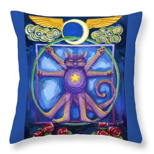 Deecken Throw Pillow featuring the painting Da Vinci Cat by John Deecken