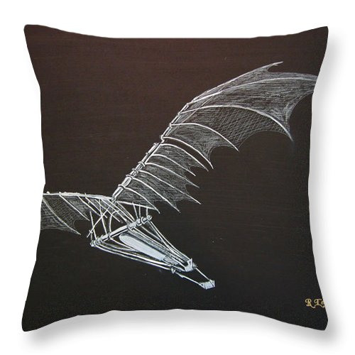 Flying Throw Pillow featuring the painting Da Vinci Flying Machine by Richard Le Page