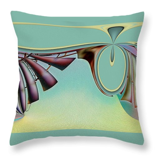 Abstract Throw Pillow featuring the digital art Da Vinci's Nudge by Wendy J St Christopher