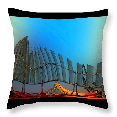 Abstract Throw Pillow featuring the digital art Da Vinci's Outpost by Wendy J St Christopher