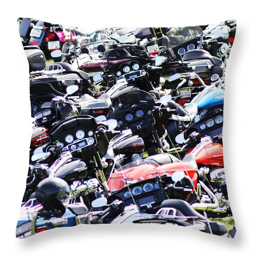 Harley Throw Pillow featuring the photograph Harley-davidson Rally by Steve Bell