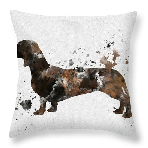Dog Throw Pillow featuring the mixed media Dachshund by Rebecca Jenkins