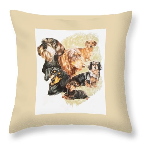 Purebred Dog Throw Pillow featuring the drawing Dachshund Revamp by Barbara Keith