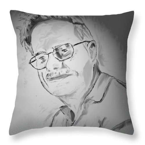Portarit Throw Pillow featuring the drawing Dad by Crystal Webb