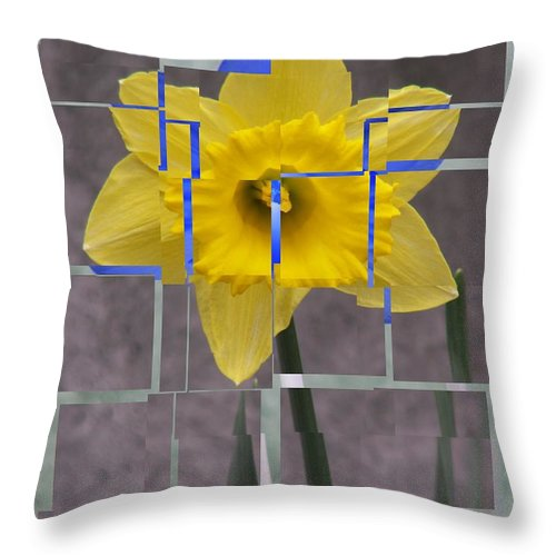 Flower Throw Pillow featuring the digital art Daffodil 1 by Tim Allen
