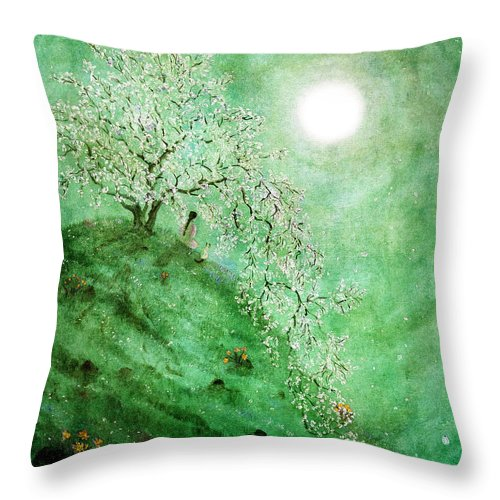 Fantasy Throw Pillow featuring the digital art Daffodil Dream Meditation by Laura Iverson
