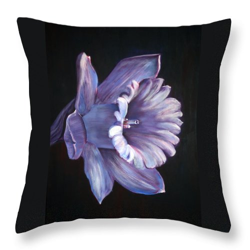 Flower Throw Pillow featuring the painting Daffodil by Fiona Jack
