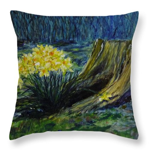 Spring Throw Pillow featuring the painting Daffodils And Tree Stump by Lizzy Forrester