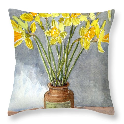 Beautiful Throw Pillow featuring the painting Daffodils In A Pot. by Mike Lester