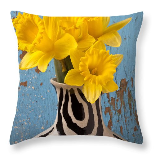 Yellow Throw Pillow featuring the photograph Daffodils In Wide Striped Vase by Garry Gay