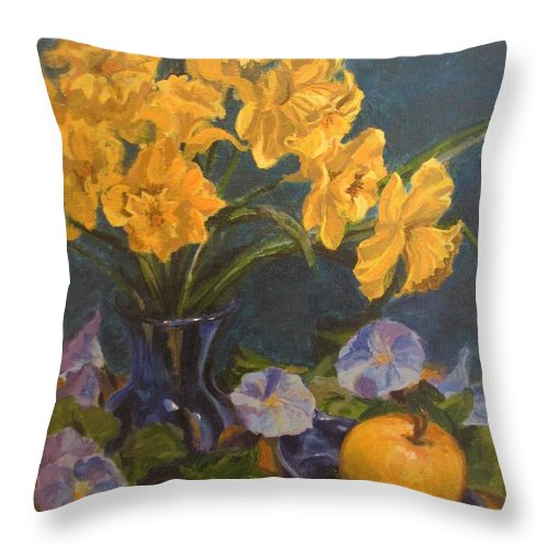 Still Life Throw Pillow featuring the painting Daffodils by Karen Ilari