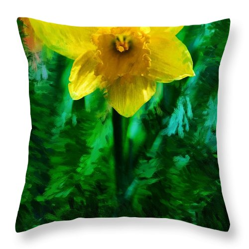 Abstract Throw Pillow featuring the photograph Daffy Dill by David Lane