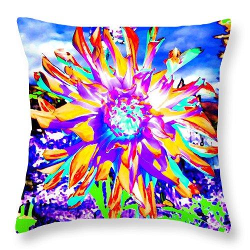 Dahlia Throw Pillow featuring the digital art Dahlia Dazzle by Will Borden