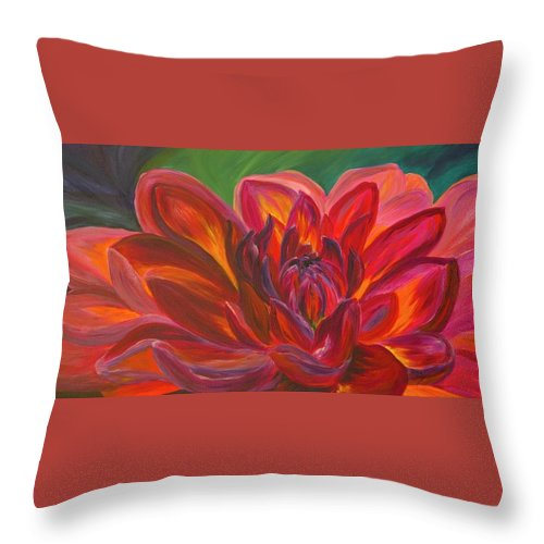 Floral Throw Pillow featuring the painting Dahlia by Donna Drake