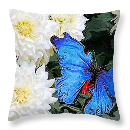 Dahlias Throw Pillow featuring the photograph Dahlias And The Butterfly by G Berry