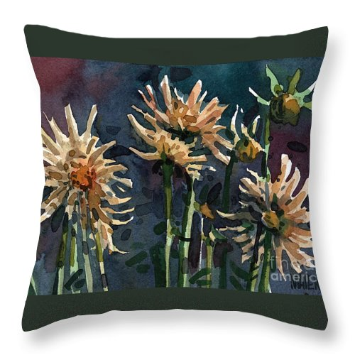 Floral Throw Pillow featuring the painting Dahlias by Donald Maier