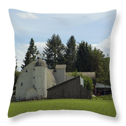 Barn Throw Pillow featuring the photograph Dahmen Barn Historical by Louise Magno