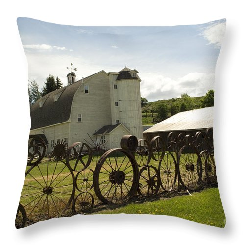 Historic Barn Throw Pillow featuring the photograph Dahmen Barn by Louise Magno