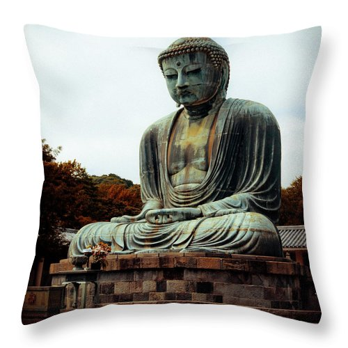 Nate Spotts Throw Pillow featuring the photograph Daibutsu by Nathan Spotts