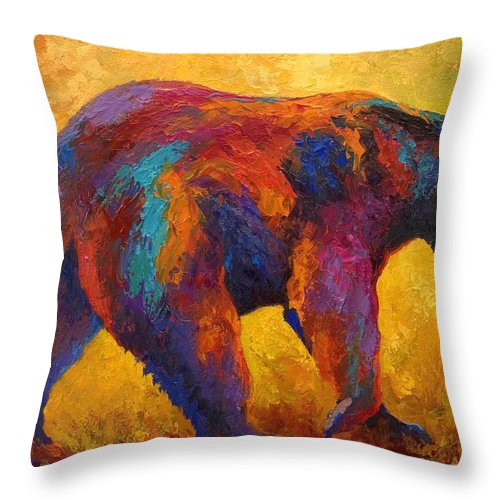 Bear Throw Pillow featuring the painting Daily Rounds - Black Bear by Marion Rose