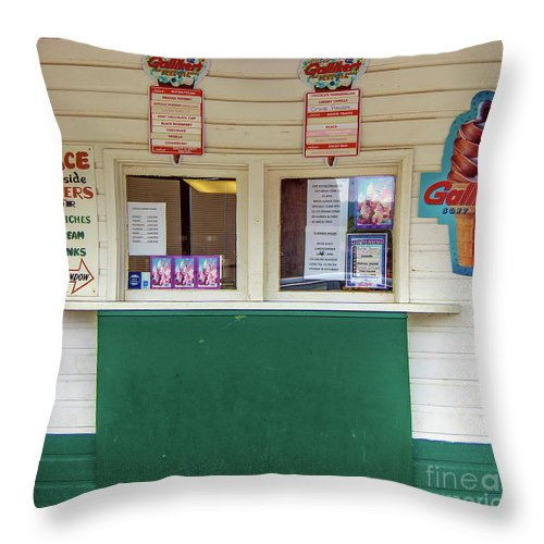 Galliker's Hand-dipped Throw Pillow featuring the photograph Dairy Bar by David Nicholson