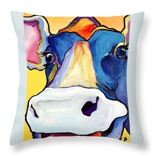 Cow Print Throw Pillow featuring the painting Dairy Queen I  by Pat Saunders-White