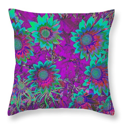 Ground Cover Throw Pillow featuring the photograph Pop Art Daisies Aqua by Jenny Revitz Soper