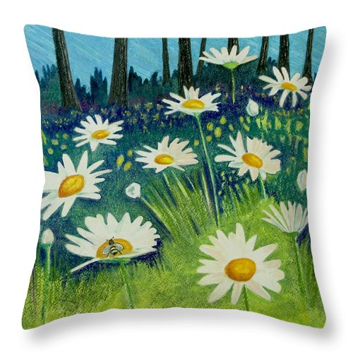 Nature Throw Pillow featuring the pastel Daisies By the Lake by Michele Fritz