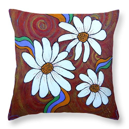 Throw Pillow featuring the painting Daisies Gone Wild by Tami Booher