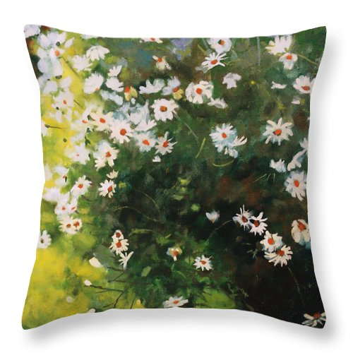 Daisies Throw Pillow featuring the painting Daisies by Iliyan Bozhanov
