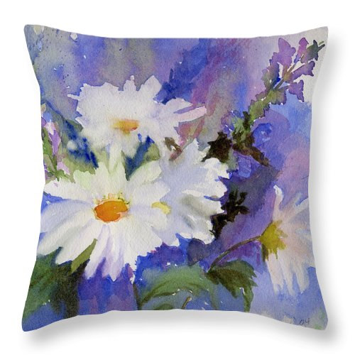 Daisy Throw Pillow featuring the painting Daisies by Katherine Berlin