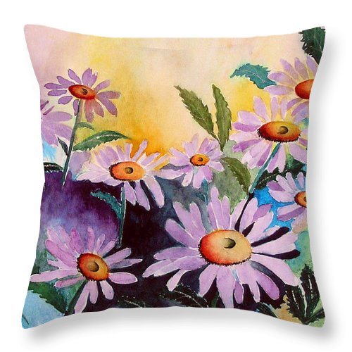 Daisies Throw Pillow featuring the painting Daisies by Mary Gaines