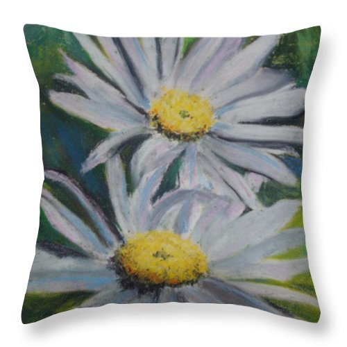 Daisies Throw Pillow featuring the painting Daisies by Melinda Etzold