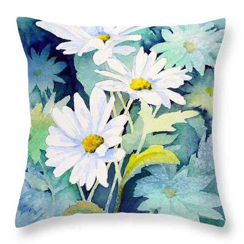 Flowers Throw Pillow featuring the painting Daisies by Sam Sidders