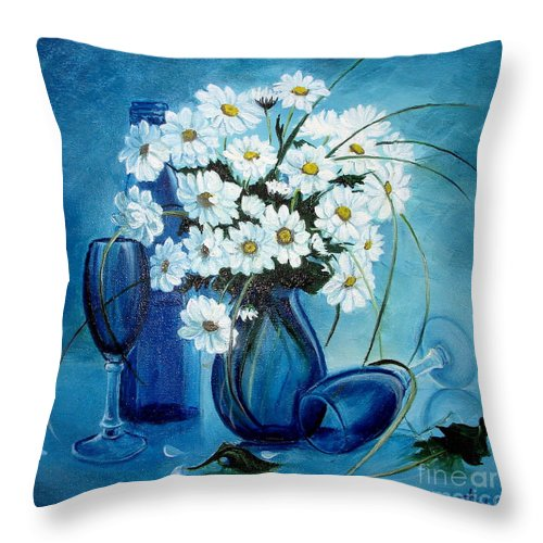 Daisies Throw Pillow featuring the painting Daisies by Sorin Apostolescu